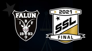 Klubbmärke för IBF Falun och logotyp för SSL-finalen